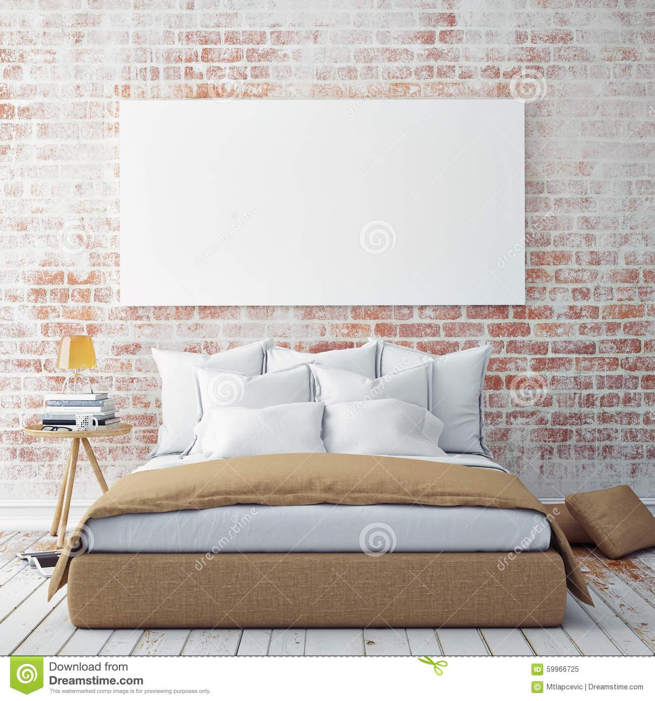 mock up blank poster wall bedroom d illustration background 59966725